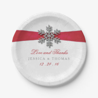 Diamante Snowflake & Red Ribbon Winter Wedding Paper Plate
