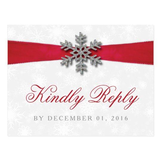 Diamante Snowflake & Red Ribbon Winter Wedding Postcard