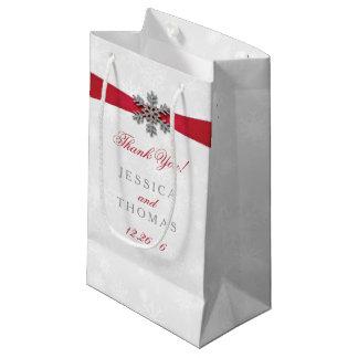 Diamante Snowflake & Red Ribbon Winter Wedding Small Gift Bag