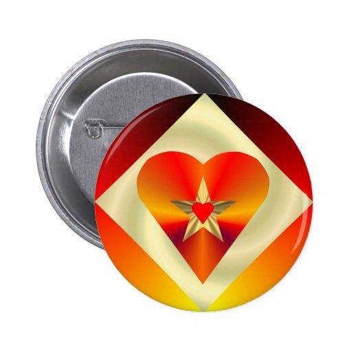 Diamon Heart Star Button