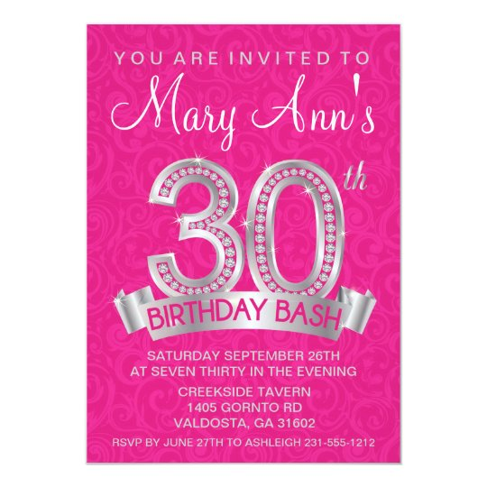Diamond 30th Birthday Invitation