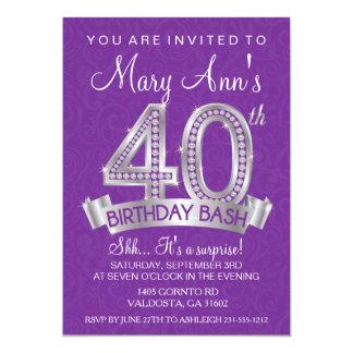 Diamond 40th Birthday Invitation - Milestone
