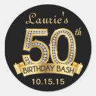 Diamond 50th Birthday Stickers   Black and Gold
