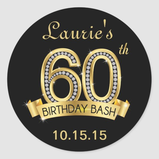 Diamond 60th Birthday Stickers | Black