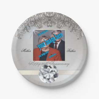 Diamond 60th Wedding Anniversary Disposable 7 Inch Paper Plate