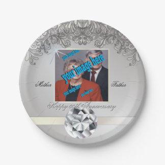Diamond 60th Wedding Anniversary Disposable Paper Plate