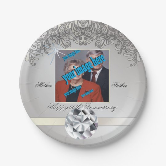 Diamond 60th Wedding Anniversary Disposable Paper Plate
