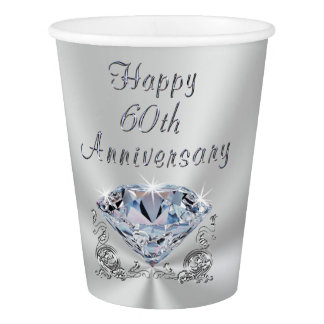 Diamond 60th Wedding Anniversary Paper Cups