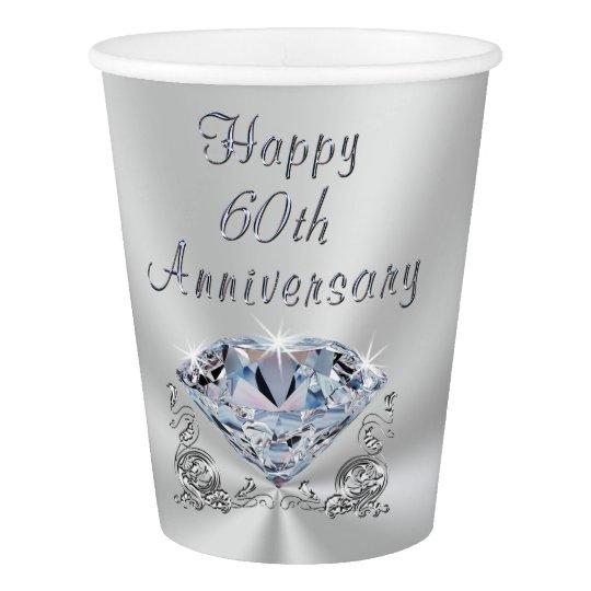 Diamond 60th Wedding Anniversary Paper Cups