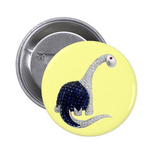 Diamond and Emerald Dinosaur 6 Cm Round Badge