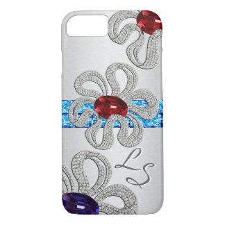 Diamond and Gem Encrusted Flowers - Monogrammed iPhone 7 Case
