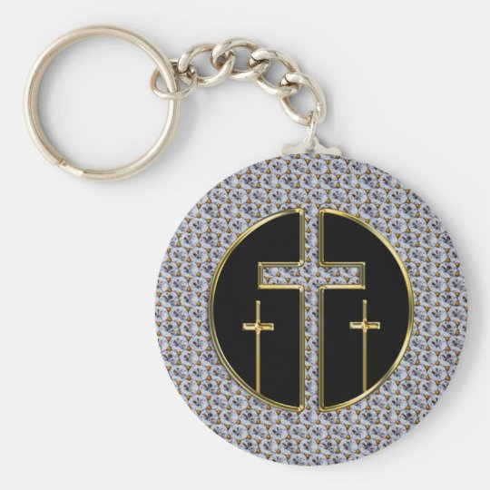 DIAMOND AND GOLD CROSSES BASIC ROUND BUTTON KEY RING