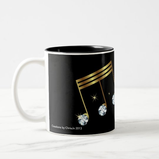 Diamond and Gold Musical Note Mug Design
