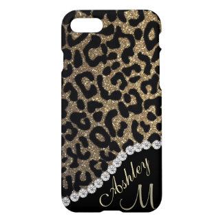 Diamond and Leopard Glitter Monogram iPhone 8/7 Case