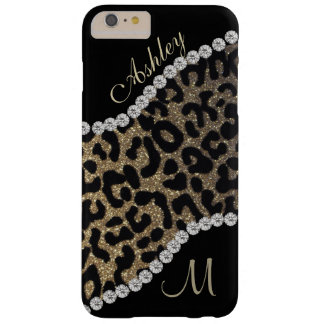 Diamond and Leopard Monogram Barely There iPhone 6 Plus Case