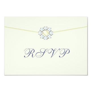 Diamond and Pearl Broach on Envelope RSVP 9 Cm X 13 Cm Invitation Card