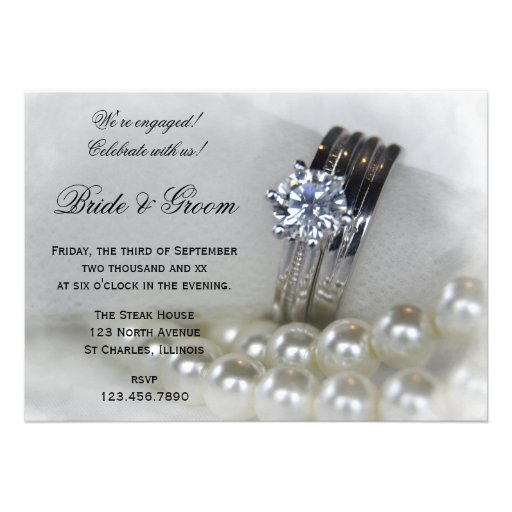 Diamond and Pearls Engagement Party Invitation