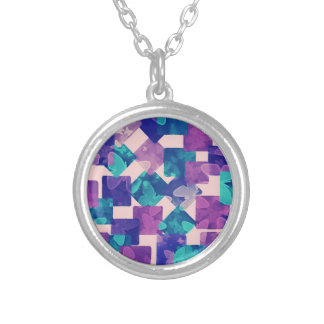 Diamond and Squares with Butterflies Necklace Round Pendant Necklace