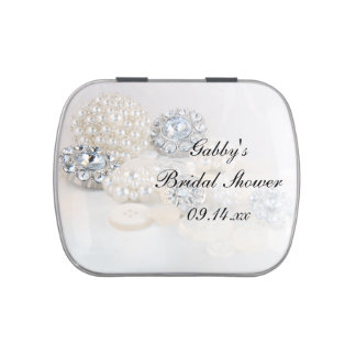 Diamond and White Pearl Button Bridal Shower Favor Jelly Belly Candy Tins