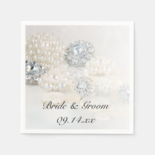Diamond and White Pearl Buttons Wedding Paper Napkin