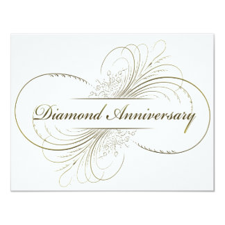 Diamond anniversary 11 cm x 14 cm invitation card
