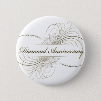 Diamond anniversary 6 cm round badge