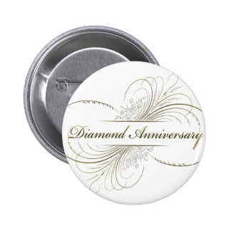 Diamond anniversary 6 cm round badge