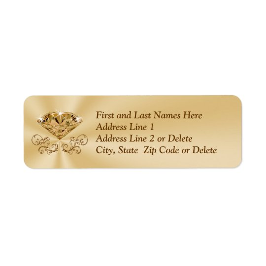 Diamond Anniversary Address Labels with Your Text