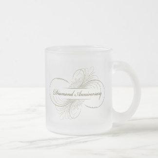 Diamond anniversary frosted glass coffee mug