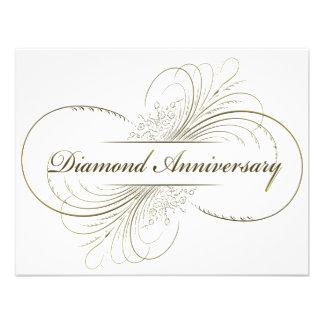 Diamond anniversary personalized invitations