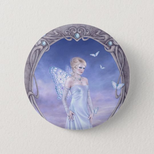 Diamond Birthstone Fairy Button Badge