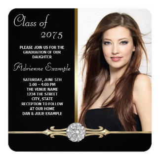 Diamond Black and Gold Glam Graduation 13 Cm X 13 Cm Square Invitation Card
