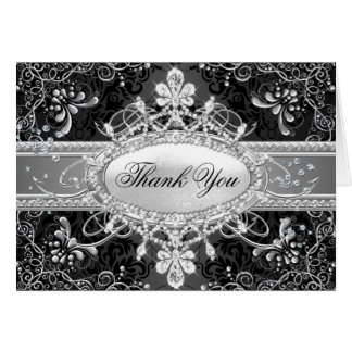 Diamond & Black Damask Thank You Card