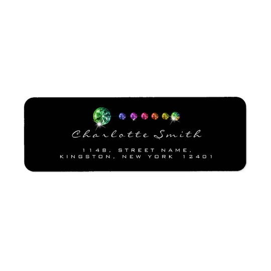 Diamond Black Rainbow RSVP Address Labels