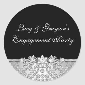 Diamond Black & Silver Engagement Party Sticker
