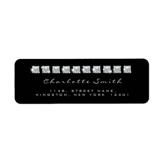 Diamond Black White Return Address Labels