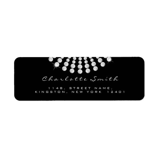 Diamond Black White Return Address Labels 1