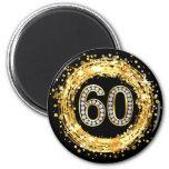 Diamond Bling Number 60 Glitter Confetti | gold 6 Cm Round Magnet