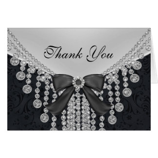 Diamond Bow & Damask 25th Anniversary Thank You Note Card