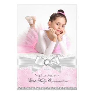Diamond Bow Pink Photo First Holy Communion 9 Cm X 13 Cm Invitation Card