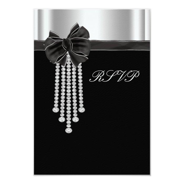 Diamond Bow Silver Black Party Template 9 Cm X 13 Cm Invitation Card