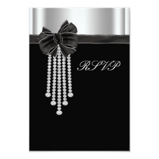 Diamond Bow Silver Black Party Template Card