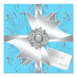 Diamond Bow Silver Teal Blue Bridal Shower Personalised Announcement