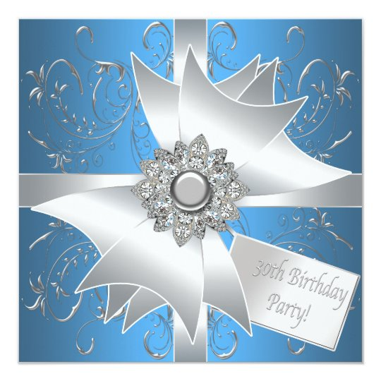Diamond Bow Silver Teal Blue Womans 30th Birthday Card