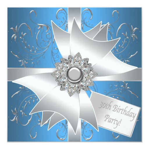 Diamond Bow Silver Teal Blue Womans 30th Birthday 13 Cm X 13 Cm Square Invitation Card