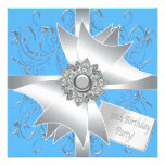 Diamond Bow Silver Teal Blue Womans 30th Birthday Personalised Invites