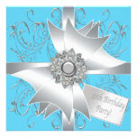 Diamond Bow Silver Teal Blue Womans 30th Birthday Personalised Invite
