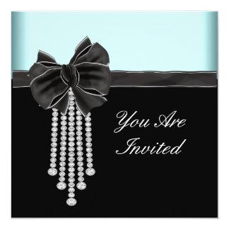 Diamond Bow Teal Blue Black Party Template 13 Cm X 13 Cm Square Invitation Card