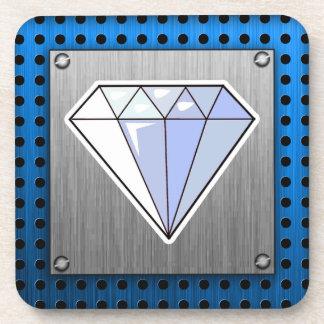 Diamond; Brushed metal-look Coaster