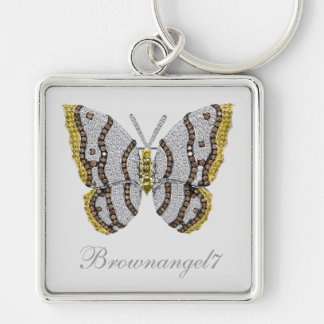 Diamond Butterfly Print Silver-Colored Square Key Ring